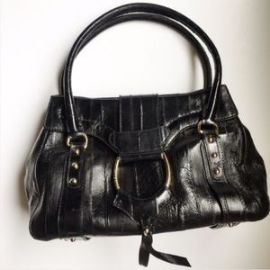 Dolce and Gabbana Black Top Handle Eel Skin Bag