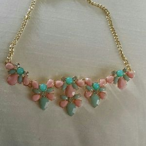 Pink blue statement necklace
