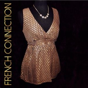 💛 French Connection Gold Polka Dot Top