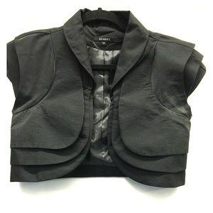 Tops - Black satin cropped shrug