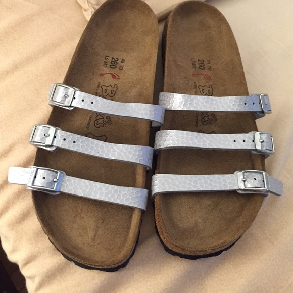 2392dbb6c2e Birkenstock Shoes - Birkenstock silver 3 Strap Sandals