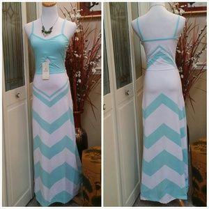 Dresses & Skirts - CLOSET CLEAR OUT SALE!  Mint Chevron Maxi Dress