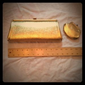 FINAL PRICEVINTAGE Gold Clutch & Coin Purse