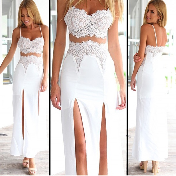 3bf75198a35b Lace dress maxi slit sexy summer white black