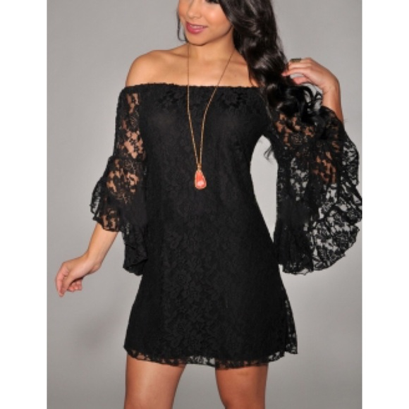 ba473db2da Boutique Dresses | Nwt Black Lace Boho Chic Off Shoulder Dress ...
