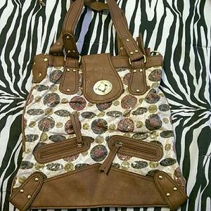 Brown and olive color handbag