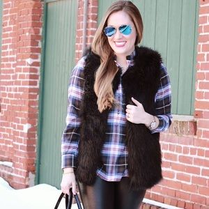 Madewell Plaid Collarless Popover Shirt