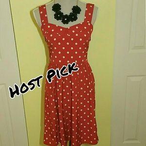 SALE Everly red & white polka-dot dress