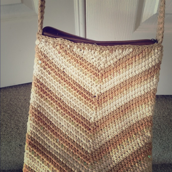 Crochet Crossbody Purse : Bags - Cute crochet beige off white crossbody bag
