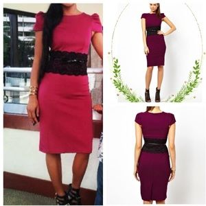 Dresses & Skirts - Burgundy bodycon lace dress
