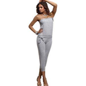 Pants - NEW Strapless Tie-Waist Capri Jumpsuit Romper