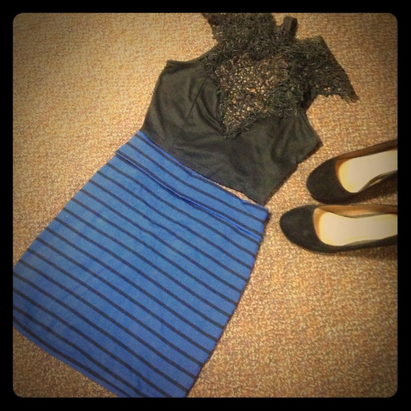 36% off Forever 21 Dresses & Skirts - Royal blue and black striped ...