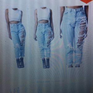 5b7736ed5e6 Highway Jeans Pants - Highwaiste ripped jeans