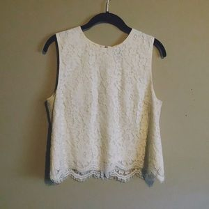 Cream Lace Shell Top