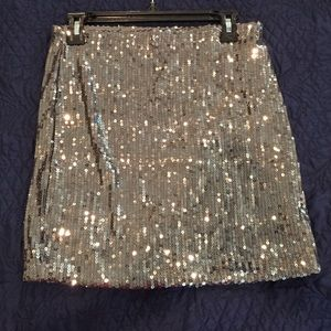 Gray sequin mini skirt