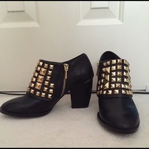 ZARA Gold Studded Ankle Boots