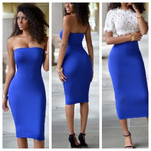 75% off Dresses & Skirts - Royal blue bodycon maxi skirt tube ...
