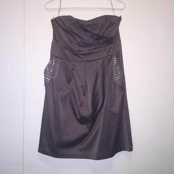 c4418c96194 Plus Size - Strapless grey party dress