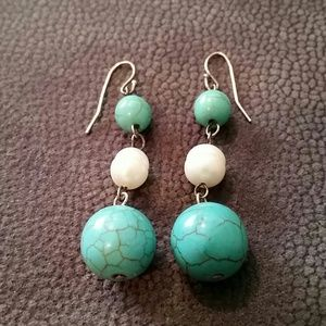 Genuine SS Freshwater Pearl and Turquoise Earrings