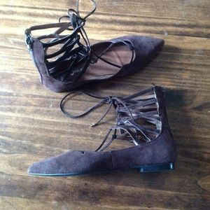 Jeffrey Campbell Shoes Lace Up Brown Flat Sz 85 Poshmark