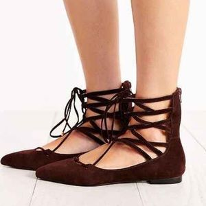 Jeffrey Campbell Shoes Lace Up Brown Flat Sz 85 Poshmark