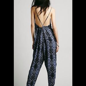 be0bd98638db Free People Pants - FREE PEOPLE INDIGO PRINT BABYDOLL HAREM JUMPSUIT