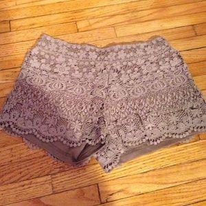 Size small pastel light purple crochet shorts.