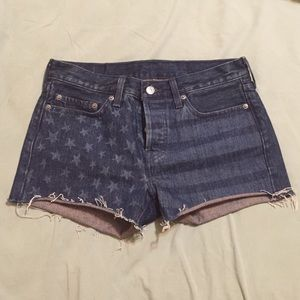 American Flag cut off shorts