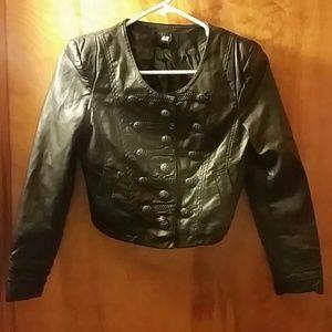 H&M Biker Waist Length Faux Leather Jacket