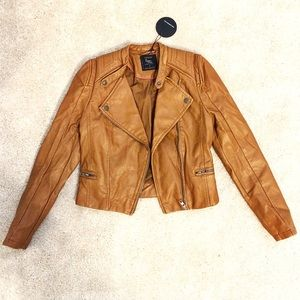 Cotton On Jackets & Blazers - Brown Leather Moto Jacket