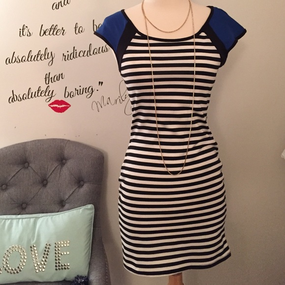 Dresses - Striped minidress w/ blue shoulder detail 😻#Cute