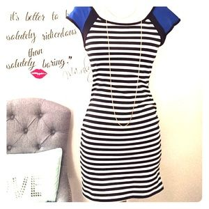Striped minidress w/ blue shoulder detail 😻#Cute
