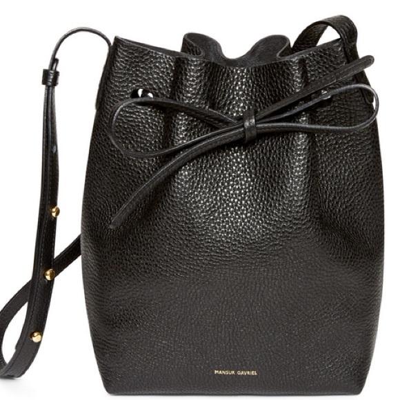 9106f2180d35 Mansur Gavriel SS15 Black Leather Bucket Bag