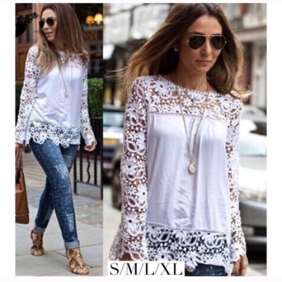5f5c0e2789e0c5 Tops | White Boho Lace Top Long Sleeve Crochet | Poshmark