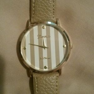 Tan Striped Face Gold tone Geneva Watch