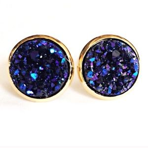thejeweladdict Jewelry - 3 for 15🎀 purple-blue chunky Drusy style studs