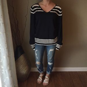 Navy & White Striped Liz Claiborne Top