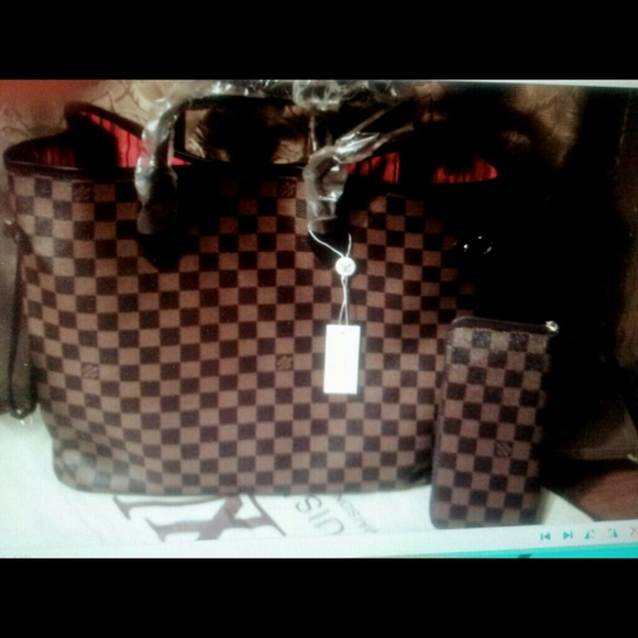 unbranded - Pretty brown checkered leather tote bag & Wallet from ...