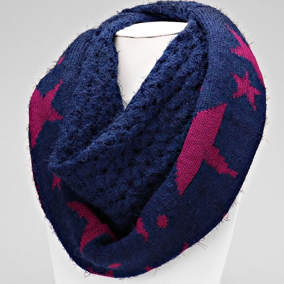 Star Pattern Navy Pink Infinity Scarf Knitted Poshmark