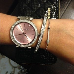 NWT Michael Kors Darci Silver Pink Face Watch