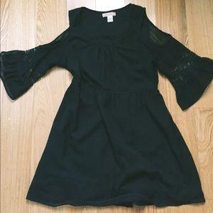 3/4 Bell Sleeve Black Dress
