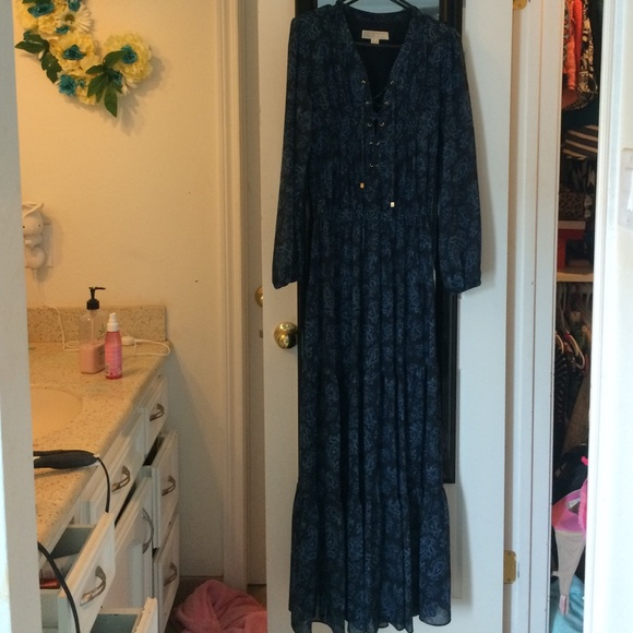 Michael Kors Dresses Navy Long Sleeve Maxi Poshmark