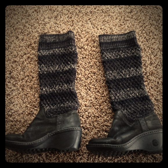 Ugg Boots Uggs Sweater Knit Leather Poshmark