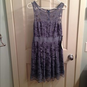 BB Dakota new grey blue lace dress