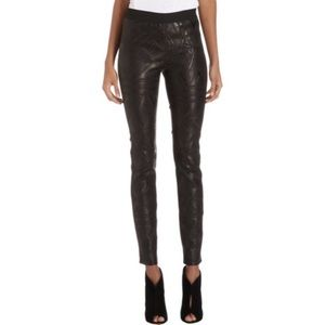 Cynthia Vincent Embossed Leather Leggings