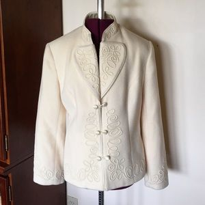 J Peterman Off White Cream Wool Scroll Coat 4