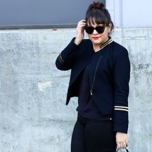 H&M Jackets & Blazers - Navy & Gold Stripes Military-Esque Jacket