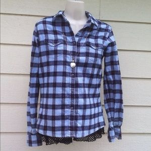 Blue Plaid Snap Up Top