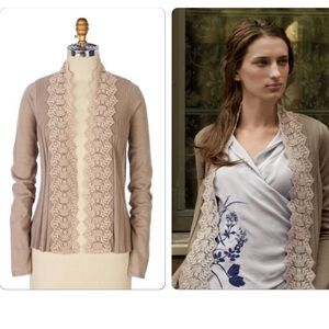 Anthropologie Lace-Edged Cardigan