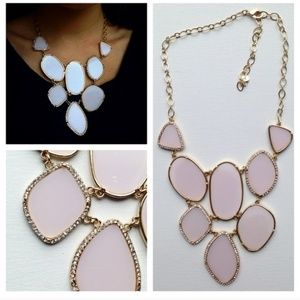 "Baby Pink Enamel ""Stones"" Statement Necklace"